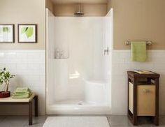 "Evergreen Shower (RH Seat, Center Drain) $367.00 in white. This spacious rectangular shower includes a relaxing seat for maximum comfort. 1-piece unit with strong base construction. Dimensions: W:47 3/4"" D:37"" H:76 1/4"""