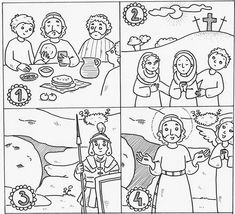 Easter story coloring pages Also good for sequence game Decrease
