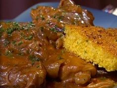 Smothered Chicken with Aldens Grandmothers Cornbread Kicked Up : Recipes : Cooking Channel