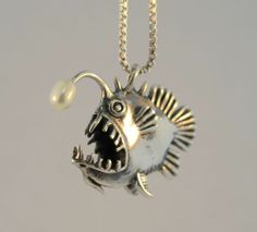 Angler Fish Necklace Fish Charm Fish Pendant with Pearl Angler Fish Jewelry Fish. - Angler Fish Necklace Fish Charm Fish Pendant with Pearl Angler Fish Jewelry Fish Art Scary Fish Sil - Sea Glass Jewelry, Pearl Jewelry, Silver Jewelry, Gold Jewellery, Pendant Jewelry, Jewellery Shops, Jewelry Necklaces, Amber Jewelry, Hippie Jewelry