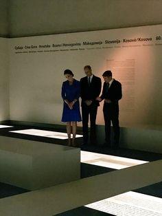 The Director of the Holocaust Memorial, Uwe Neumärker, shows The Duke and Duchess around the the museum in Berlin.