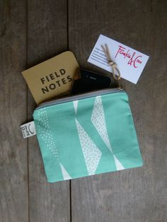 Mint Organic Cotton Canvas Zipper Pouch, Mint Triangles Small Purse, Holiday Gift, Mint Travel Pouch, Passport Case
