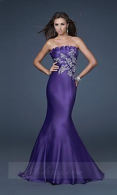 Grape Mermaid La Femme GI-16670,Strapless Taffeta Prom Dresses