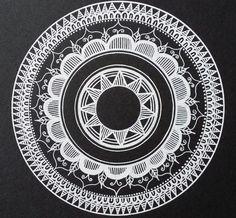 - Black and White mandala - Drawn freehand - Gellyroll White pen from Sakura