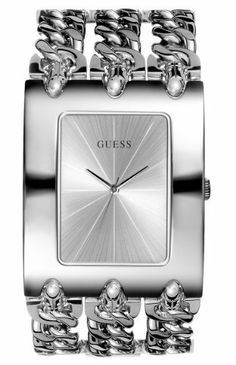 Guess I95194L1 Stainless Steel Chain Bracelet Woman's Watch GUESS. $97.00. Stainless steel triple chain bracelet. Splash resistant. Quartz movement. Stainless steel case. Silver tone dial with three silver tone hands