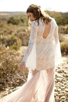 Bohemian Wedding Dress with Romantic Bell Sleeves and Key Hole Back, Perfect for a Bridechilla. #bohemianwedding #bohobride #bohemianweddingdress