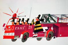 """illustration from Miroslav Sasek's vintage children's book, """"This is... New York"""" showing firemen in a fire engine"""