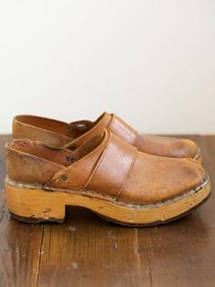 Leather and Wood Clogs ...You could not sneak up on anyone with these on. Sounded like a horse coming through