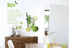 "Wall tattoo ""Mojito"" from Komar Window Stickers, Wall Stickers, Wall Decals, Slice Of Lime, Perfect Wallpaper, Wall Tattoo, Empty Wall, Fresh Lime Juice, Decoration"