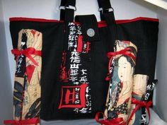 Black Red Oriental Japanes Ladies Yarn Tote, Premium Fabric Craft Project Bag with Needle Roll Ups  by JDCreativeHands on Etsy