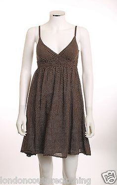 DEREK HEART BROWN/ PINK POLKA DOTS ELASTIC WAIST & BACK SPAGHETTI STRAP DRESS SM