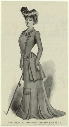 A practical walking-dress trimmed with braid from the Illustrated London News from 1902. The skirt detail is wonderful.