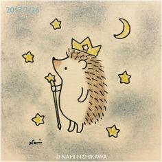 1104 星の王様  the King of stars #illustration #hedgehog #star #イラスト #ハリネズミ #なみはりねずみ #星 #illustagram