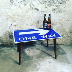 Items similar to Repurposed road sign side table with vintage legs - perfect for a man cave - bedside table - upcycled furniture - midcentury legs on Etsy Recycled Furniture, Painted Furniture, Diy Furniture, Diy Coffee Table, Diy Table, Street Signs, Diy Signs, Decoration, Repurposed