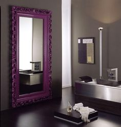 Purple baroque mirror. I can so see this in my home. Love it!