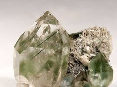 minfind.com - Quartz included by Byssolite from Miage Glacier, Veny Valley, Monte Bianco Massif (Mont Blanc Massif), Courmayeur, Aosta Valley, Italy