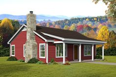 If you're looking for a smaller cabin house plan check out Plan a 1000 sq. Cabin home with 2 bedrooms 1 bathroom a vaulted family room and an open floor plan. Metal House Plans, Cabin House Plans, Ranch House Plans, New House Plans, Small House Plans, Southern House Plans, Country House Plans, Country Living, 1000 Sq Ft House