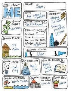 Back to school activities: All about me activities: FREE All about me worksheet. First Day Of School Activities, 1st Day Of School, Beginning Of The School Year, Summer School, School Days, Starting School, Classroom Activities, Fun Office Activities, Kids Group Activities