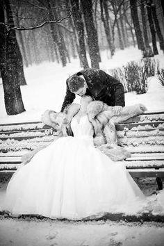Beautiful snowy wedding photo!