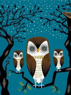 3 lazy owl etsy print for sale