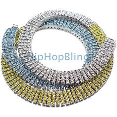 Save big on this bling bling 4 row chain.  Totally iced out in this unique color pattern for a custom hip hop jewelry look.  Get your bling bling chain today before they are all gone