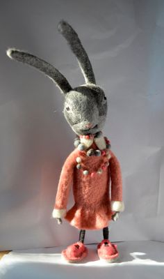 Rabbit , Art Dolls, Interior doll , Gift For Her , Needle felted rabbit, felted animal, felted rabbit.READY TO SHIP felt doll