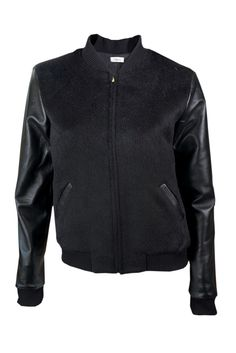 Mohain Bomber with Leather Sleeves. So chic! www.sustainlux.com