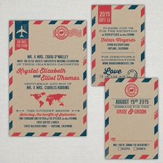 "Custom ""Love is in the Air"" Vintage Air Mail Wedding Invitations on Etsy, $4.95"