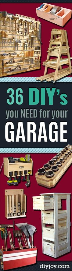 DIY Projects Your Garage Needs -Do It Yourself Garage Makeover Ideas Include Storage, Organization, Shelves, and Project Plans for Cool New Garage Decor diyjoy.com/... #woodworking