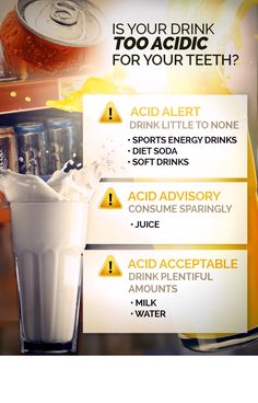 Acidic beverages soften tooth enamel, encouraging decay – watch what you drink! For more great oral health tips and information, visit Thirty-Two Dental. Oral Health, Dental Health, Health Tips, Dental Art, Dental Group, Smile Dental, Receding Gums, Teeth Care, Dental Hygienist