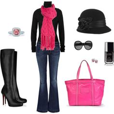Black and Pink Winter Chic...I would probably hit myself in those boots!