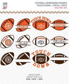 Football Balls Monogram split Frame DXF SVG EPS rugby by SvgCutArt