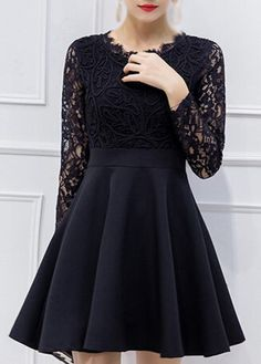 Black Long Sleeve Lace Bodice Skater Dress