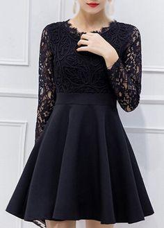 Black Long Sleeve Lace Bodice Skater Dress