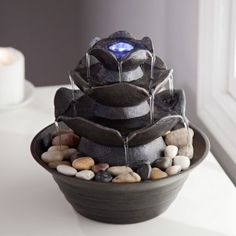 Bond Quinn Indoor/Outdoor Tabletop Fountain Stone Resin Construction In  Tiered Style No Plumbing Necessary; Water Circulates Throughout Built In ...