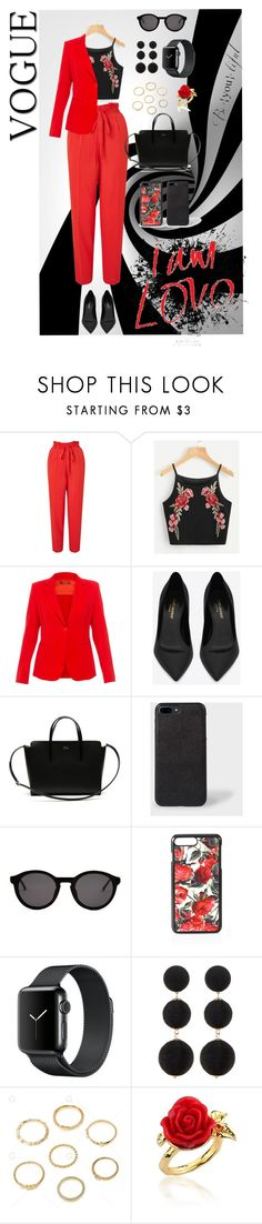 """""""Red and Black"""" by yulrom ❤ liked on Polyvore featuring Miss Selfridge, MaxMara, Yves Saint Laurent, Lacoste, Thierry Lasry, Dolce&Gabbana, Cara Accessories and Disney Couture"""