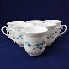 Set of 6 Arcopal France Veronica Coffee/Tea Cup Mug White w/Blue Flowers Floral