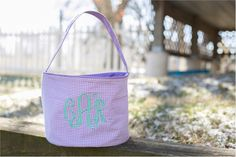 Monogrammable Gingham Easter Basket Tote - LAVENDER Embroidery Blanks, Embroidery Software, Embroidery Thread, Halloween Buckets, Easter Baskets, Gingham, Lavender, My Etsy Shop, Make It Yourself