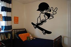 Wall Vinyl Sticker Decals Mural Room Design Decor Pattern Skate Board Skating Boy Hat Hobby Sport Fun mi345 * Find out more about the great product at the image link.-It is an affiliate link to Amazon. #KidsRoomDcor