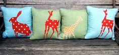 Blue Linen Animals Cushion  bunny by TreefallDesign on Etsy, $28.00