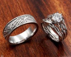 A wedding ring set inspired by nature and your love& eternal growth! This set includes our Embracing Tree Branch Engagement Ring and Wedding Band. Wedding Ring For Him, Wedding Rings Simple, Wedding Rings Solitaire, Diamond Wedding Rings, Bridal Rings, Unique Rings, Beautiful Rings, Diamond Rings, Trendy Wedding