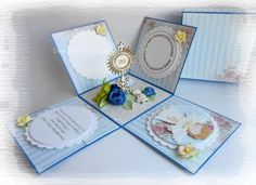 Komunia - exploding box First Communion Cards, Holy Communion Invitations, First Holy Communion, Exploding Gift Box, Card Organizer, Baptism Gifts, Origami Paper, Invitation Cards, Mini Albums