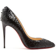 Christian Louboutin Pigalle Follies 100mm patent-leather pumps (€585) ❤ liked on Polyvore featuring shoes, pumps, black, black patent pumps, black patent stilettos, black patent leather pumps, black pumps and black pointed toe pumps