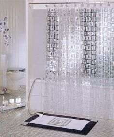 Cubic Clear Shower Curtain. I like the clean modern look of this ...