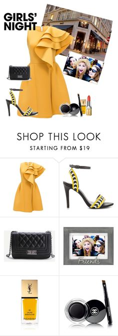"""""""A Yellow dress is always fun and with my friends ..."""" by chanelkrazy ❤ liked on Polyvore featuring ALDO, Malden International Designs, Yves Saint Laurent, Chanel and Elizabeth Arden"""