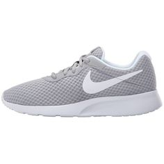 Nike Tanjun (Wolf Grey/White) Women's Running Shoes (875 ARS) ❤ liked on Polyvore featuring shoes, athletic shoes, nike, breathable running shoes, white lace up shoes, white shoes and running shoes
