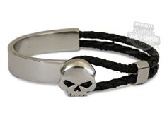 HDWBR10334 - Harley-Davidson® Womens Test Ride Willie G Skull Bangle Design with Leather Cord Cuff Bracelet by LODIS - Barnett Harley-Davidson®