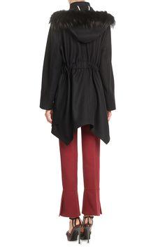 Wool-CashmereCoalwithFur-TrimmedHoodfromFENDI | Luxury fashion online | STYLEBOP.com