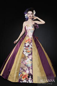 Aラインドレス 和ドレス・ウェディングドレスレンタルのアリアンサ 着物ドレス・打掛ドレス・カラードレス・コンテストドレスのオーダーメイド、レンタル・ドレス制作、販売 Flower Dresses, Pretty Dresses, Beautiful Dresses, Prom Dresses, Formal Dresses, Japanese Wedding, Kimono Dress, Fashion History, Wedding Gowns