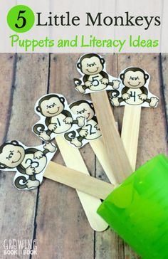 Five Little Monkeys Puppets and Literacy Activities - - Enjoy Five Little Monkeys Jumping on the Bed with these free printable puppets. Three literacy activities are included to do with the kids. Pre K Activities, Movement Activities, Jungle Theme Activities, Preschool Songs, Preschool Literacy, Preschool Printables, Preschool Ideas, Kindergarten, Monkey Puppet